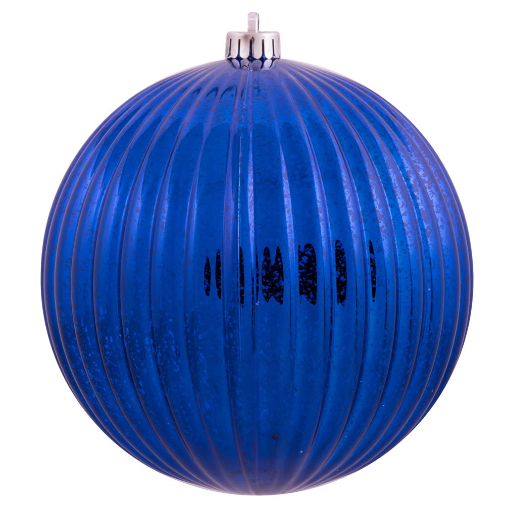 "8"" Sea Blue Mercury Pumpkin Ball Shatterproof Christmas Ornament"