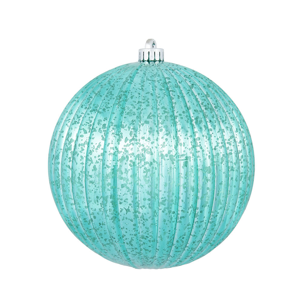 "8"" Teal Mercury Pumpkin Ball Shatterproof Christmas Ornament"