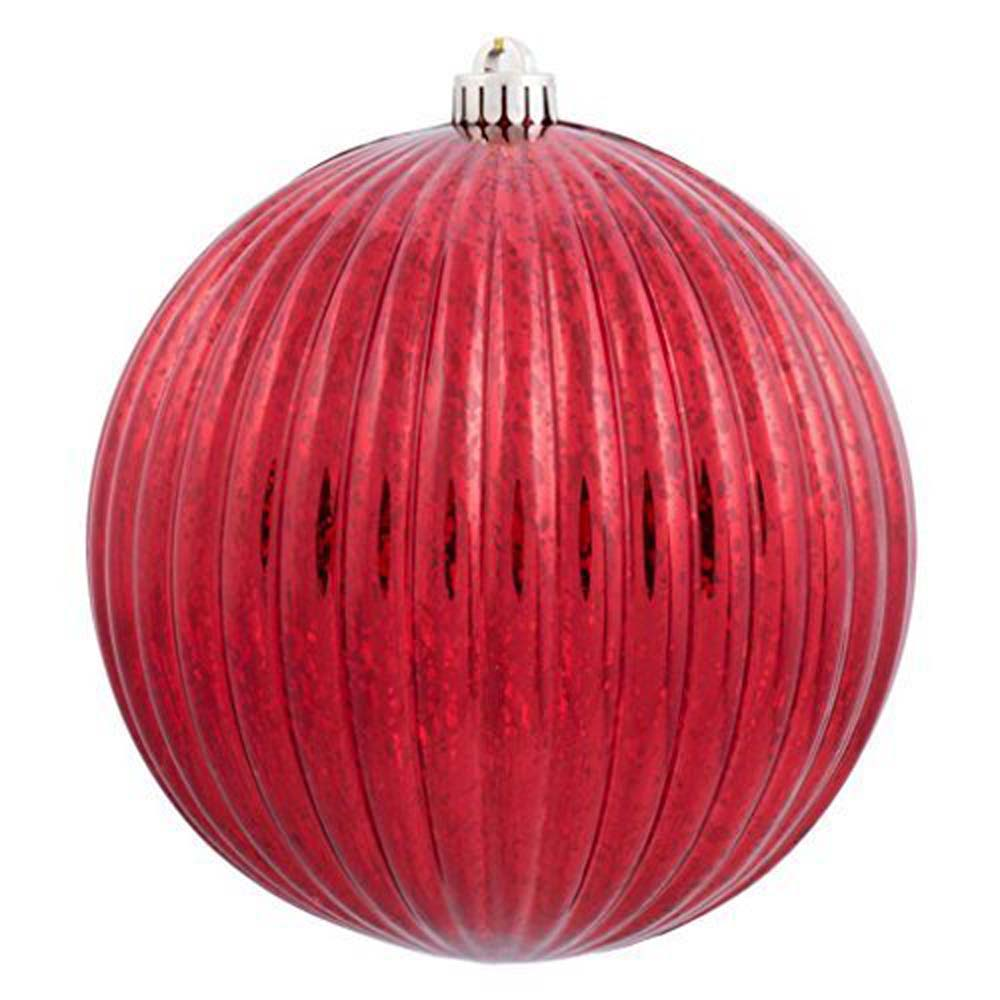 "10"" Red Mercury Pumpkin Ball Shatterproof Christmas Ornament"