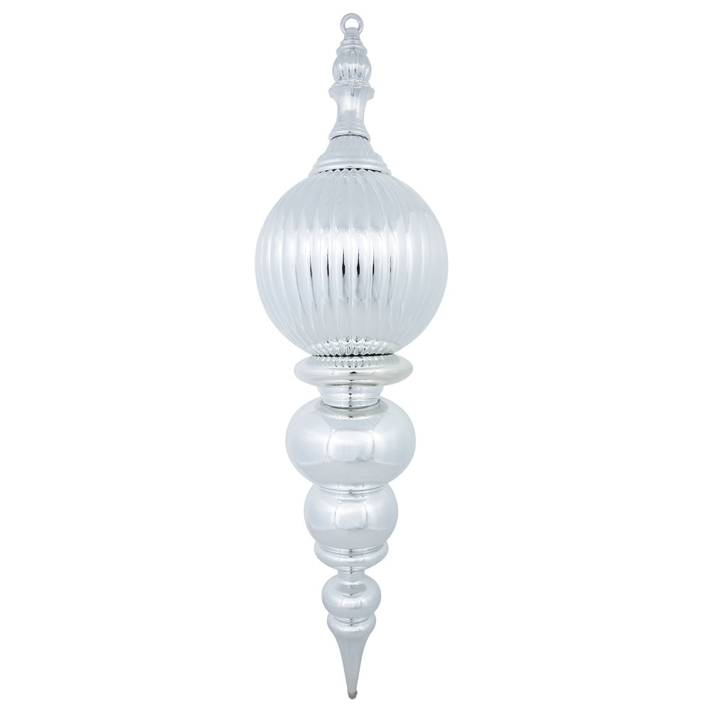 "28"" Silver Shiny Finial Shatterproof Christmas Ornament"