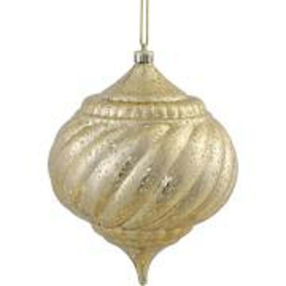 "4PK - 6"" Gold Shiny Mercury Onion Shatterproof Christmas Ornaments"