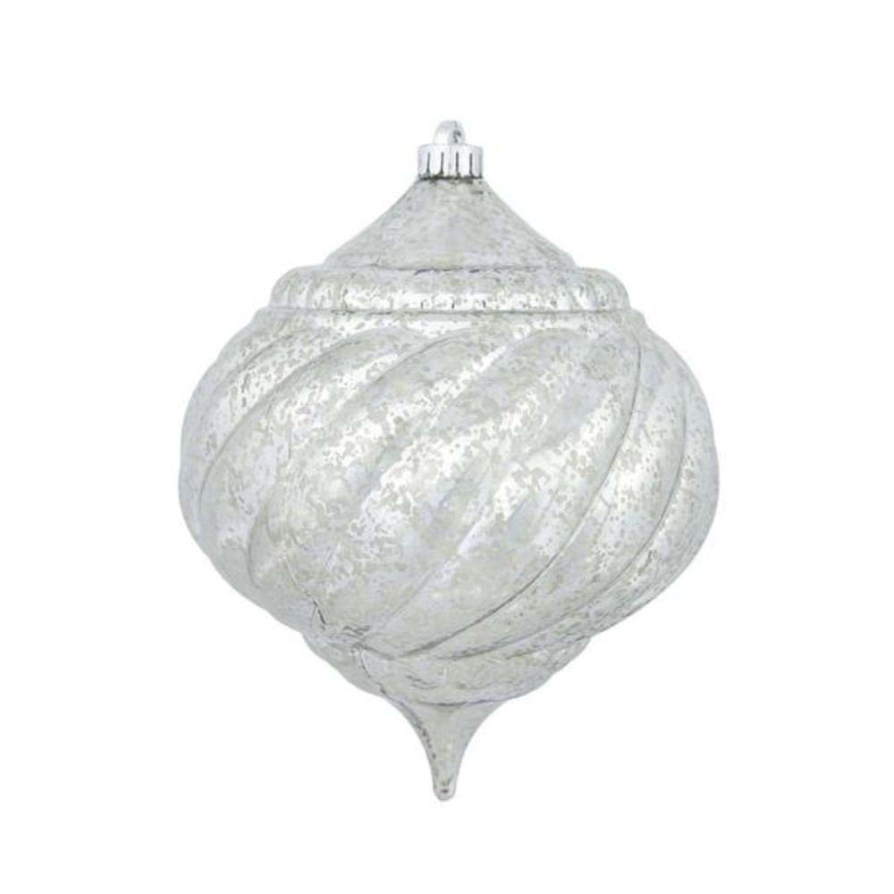 "4PK - 6"" Pewter Shiny Mercury Onion Shatterproof Christmas Ornaments"