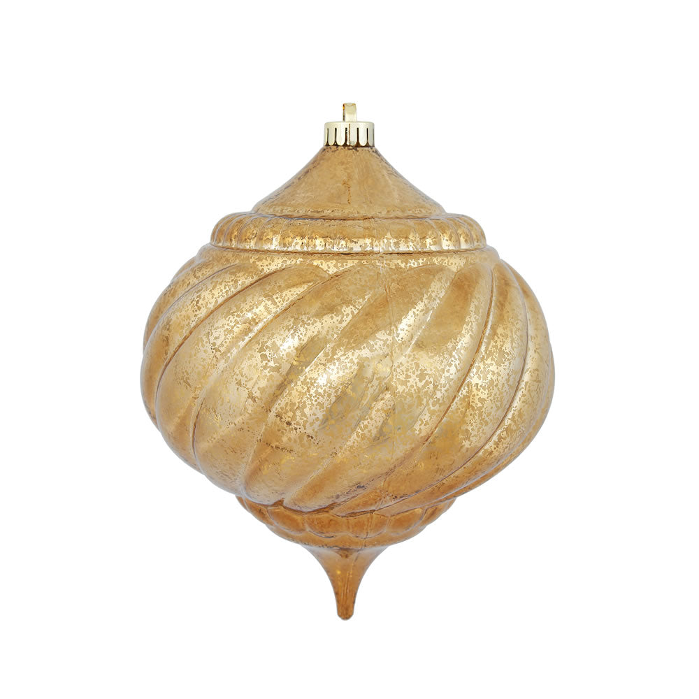"8"" Mocha Shiny Mercury Onion Shatterproof Christmas Ornament"