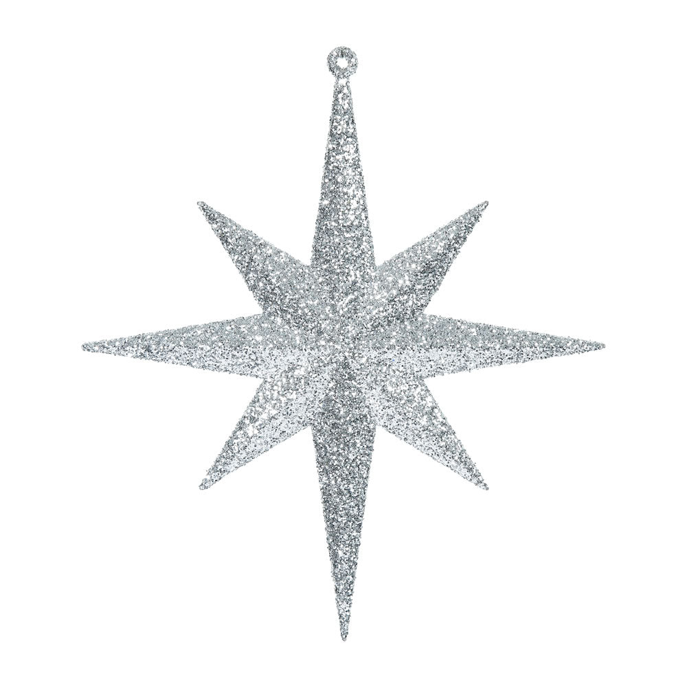 "4PK - 8"" Silver Glitter Bethlehem Star 8 Point Christmas Ornaments"