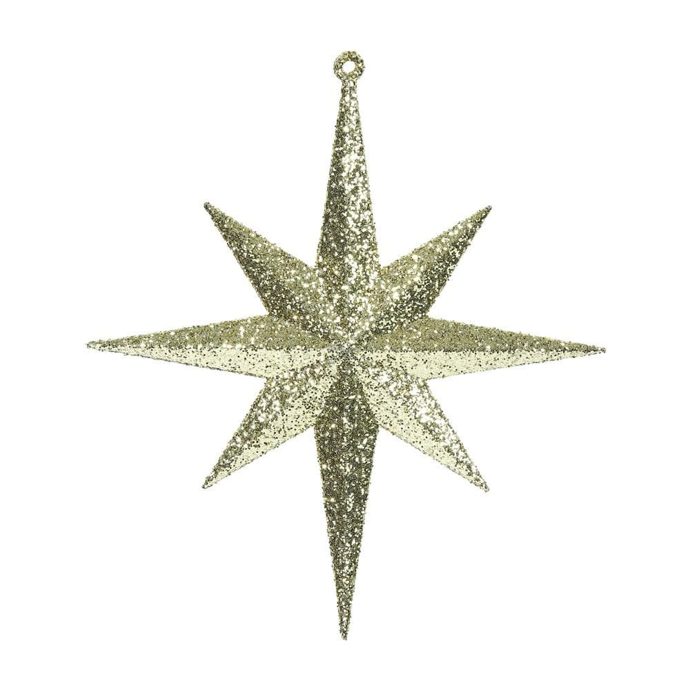 "4PK - 8"" Gold Glitter Bethlehem Star 8 Point Christmas Ornaments"
