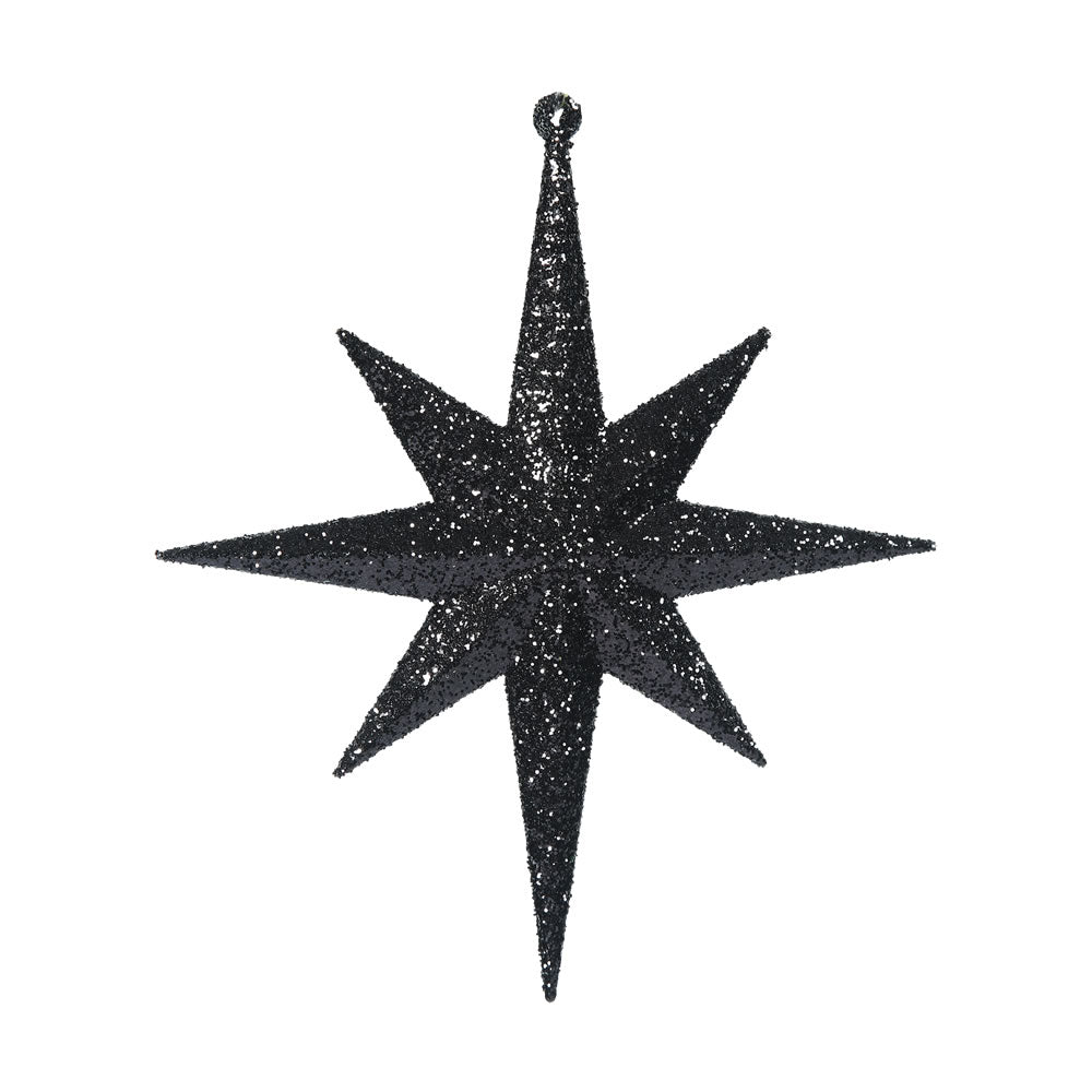 Vickerman 8 in. BLACK Glitter Star Christmas Ornament