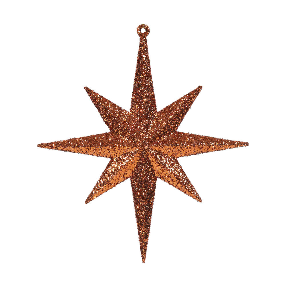 "4PK - 8"" Burn Orange Glitter Bethlehem Star 8 Point Christmas Ornaments"