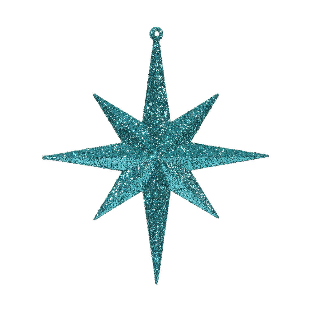 "4PK - 8"" Lake Blue Glitter Bethlehem Star 8 Point Christmas Ornaments"