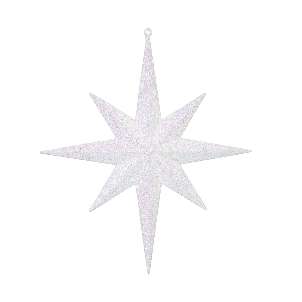 "2PK - 12"" White Glitter Bethlehem Star 8 Point Christmas Ornaments"
