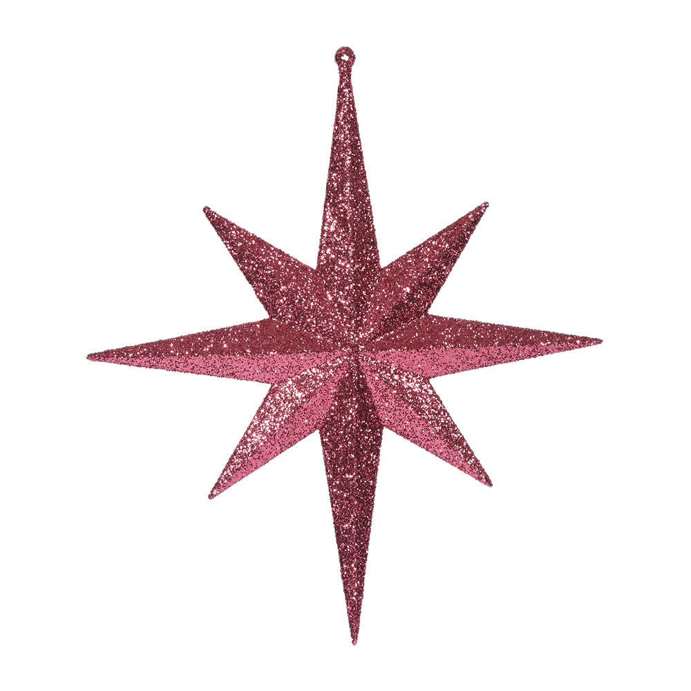 "2PK - 12"" Magenta Glitter Bethlehem Star 8 Point Christmas Ornaments"