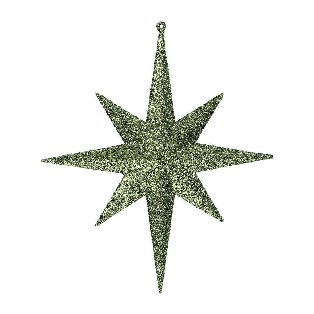 "2PK - 12"" Dark Olive Glitter Bethlehem Star 8 Point Christmas Ornaments"