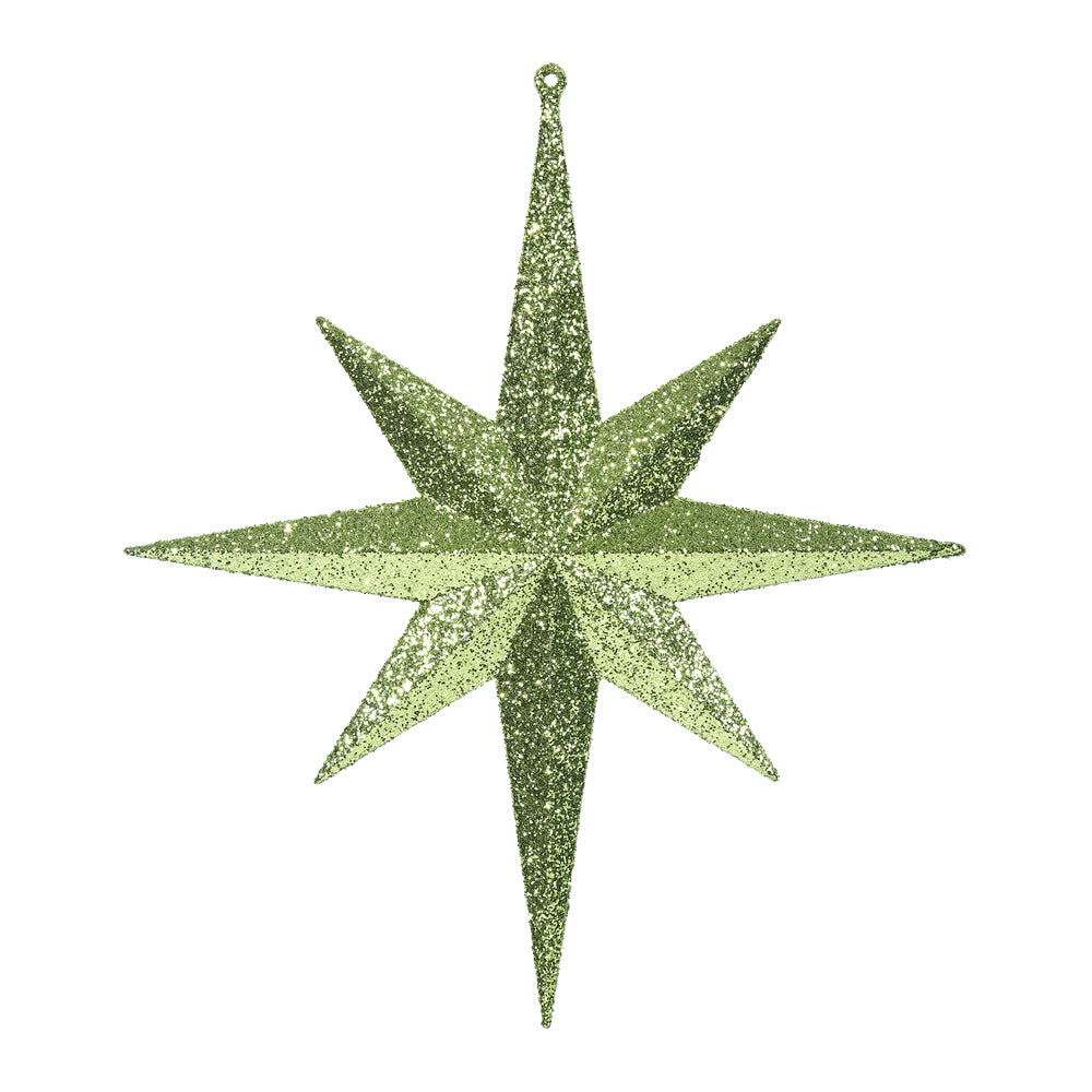 "2PK - 12"" Lime Glitter Bethlehem Star 8 Point Christmas Ornaments"