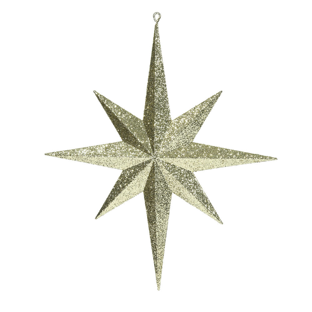 "15.75"" Gold Glitter Bethlehem Star 8 Point Christmas Ornament"