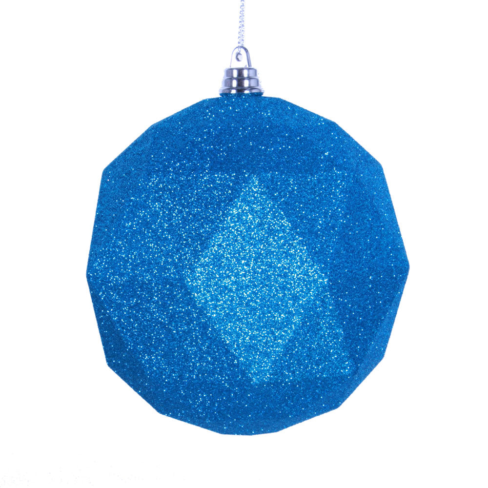 Vickerman 8 in. Turquoise Geometric Glitter Ball Christmas Ornament