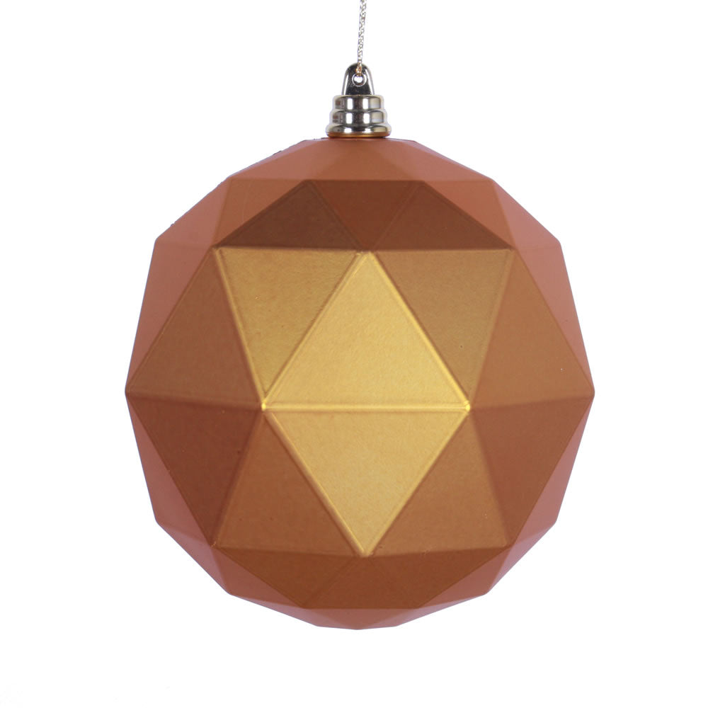 Vickerman 8 in. Antique Gold Matte Geometric Ball Christmas Ornament