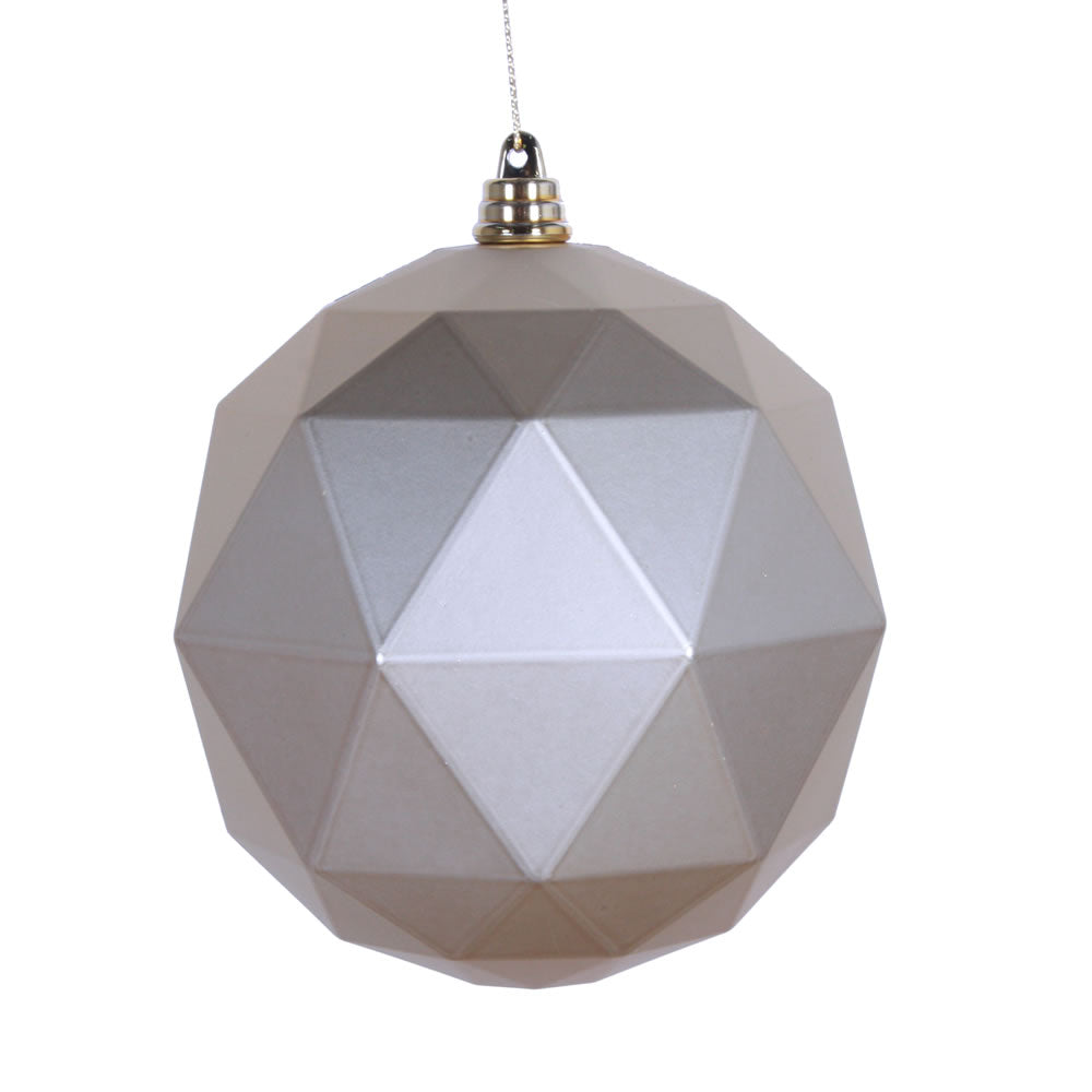 Vickerman 4.75 in. Champagne Matte Geometric Ball Christmas Ornament