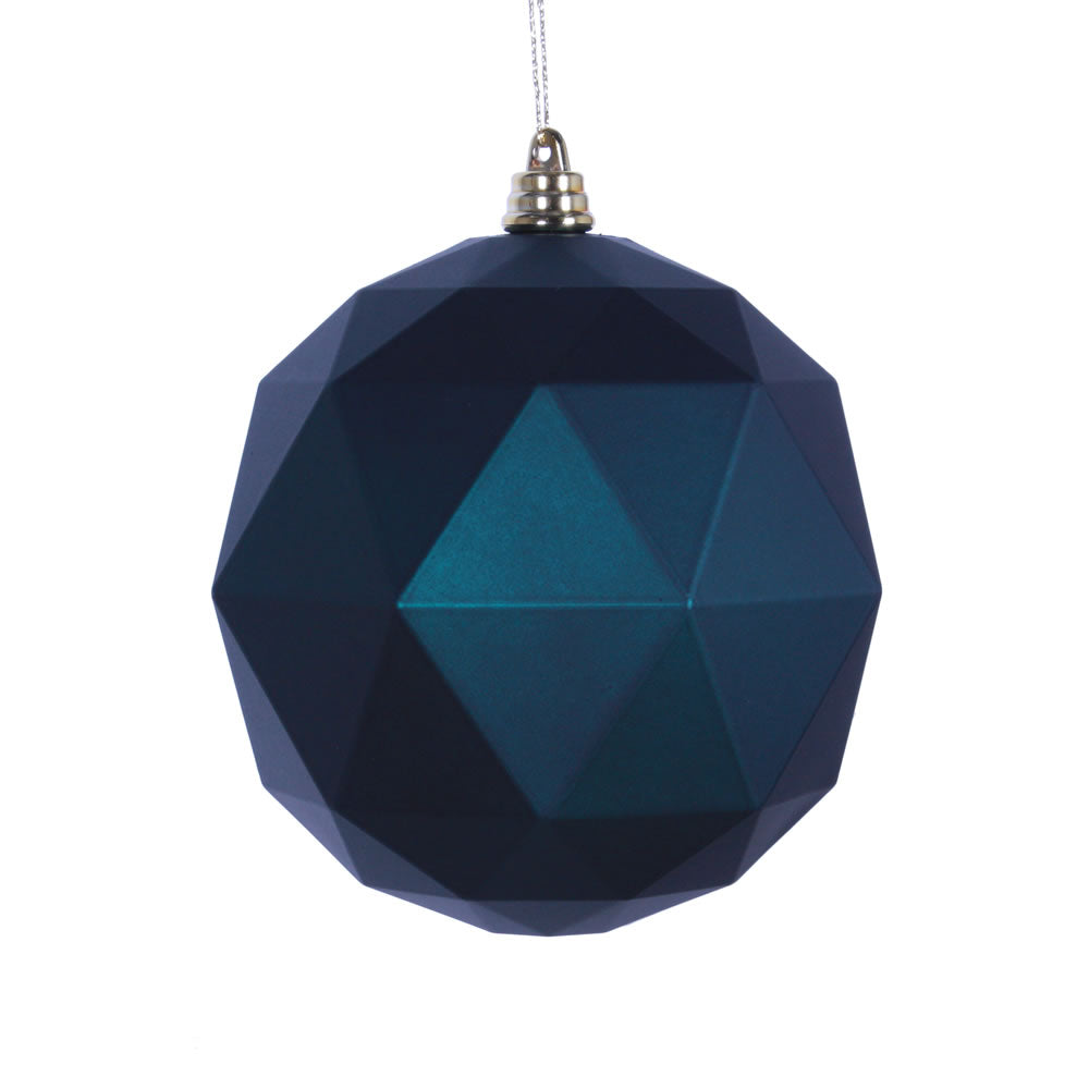 Vickerman 4.75 in. Sea blue Matte Geometric Ball Christmas Ornament