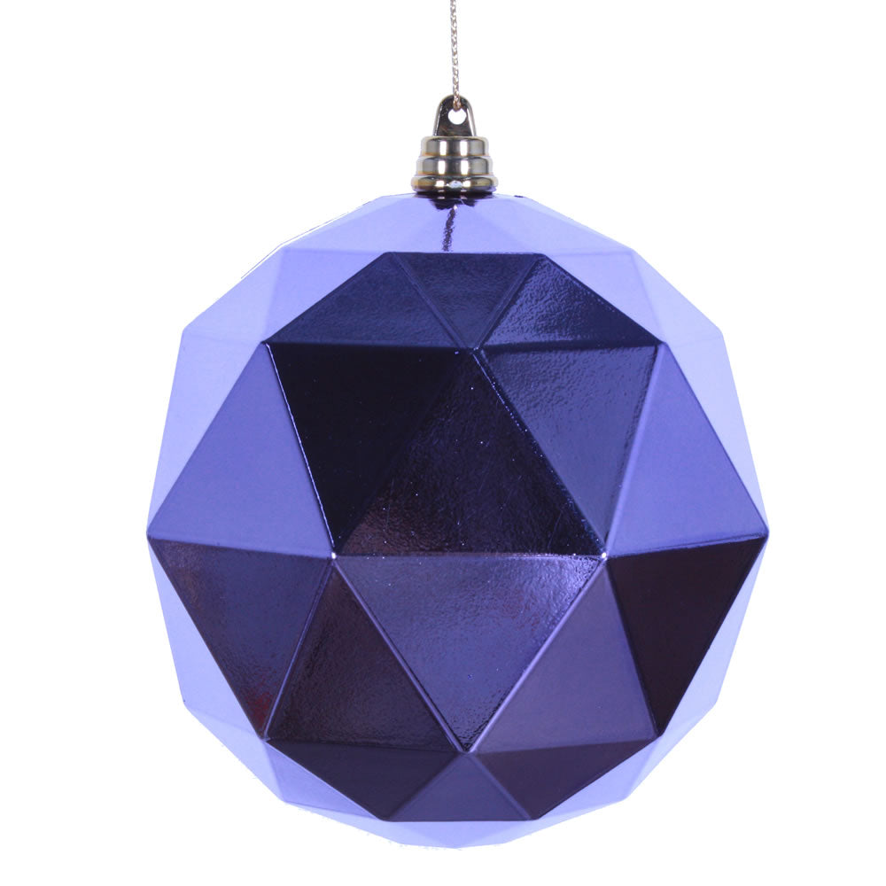 Vickerman 8 in. Lavender Shiny Geometric Ball Christmas Ornament