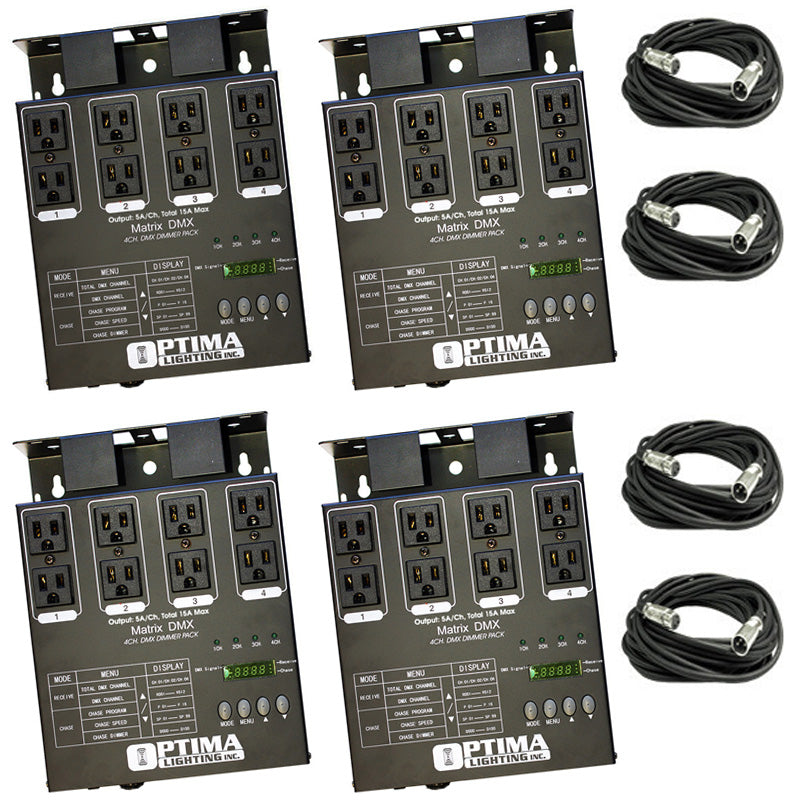 4 x MATRIX DMX 4Ch. Double Output Dimmer Pack System with 4x XLR DMX Cables