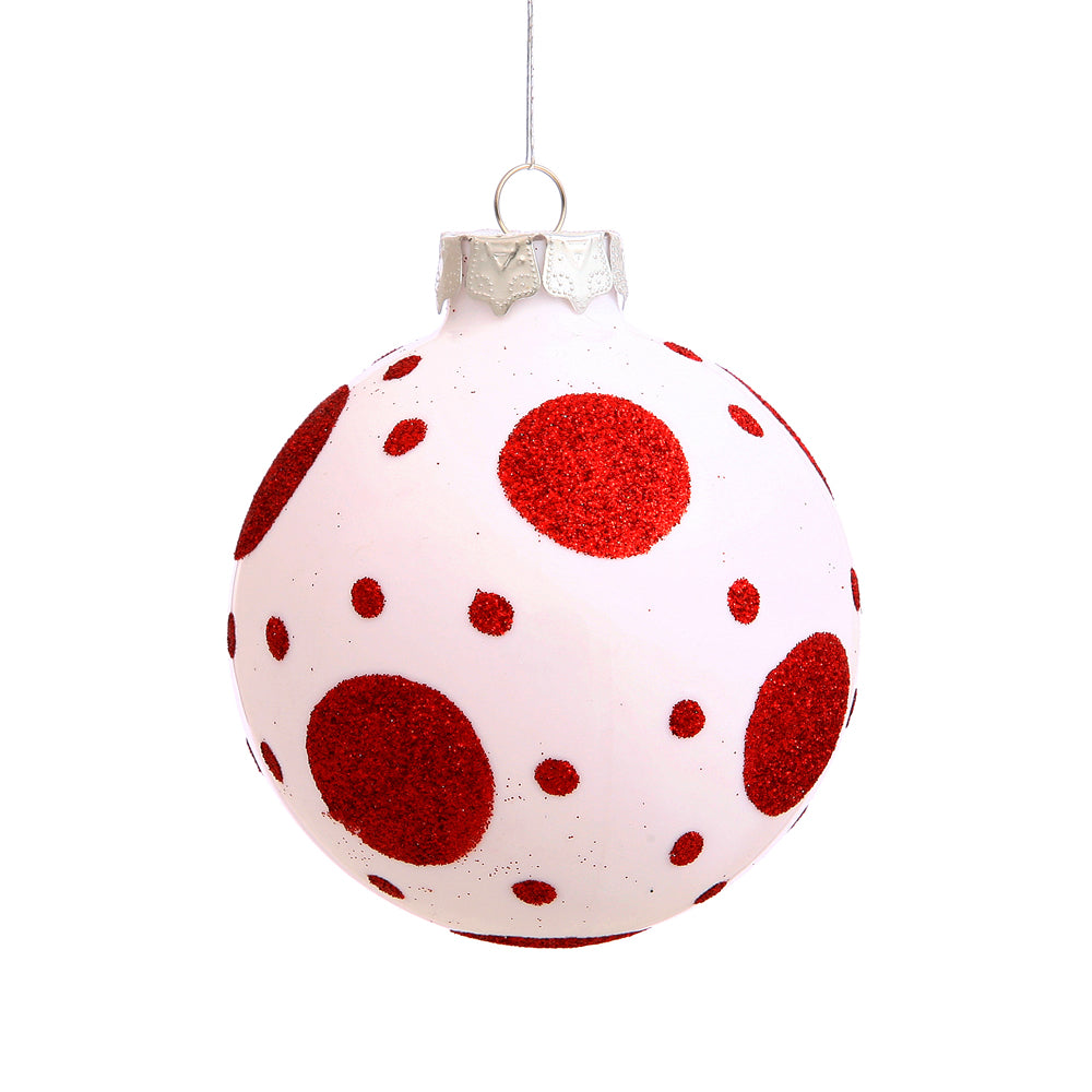 Vickerman 3 in. Red-White Ball Christmas Ornament