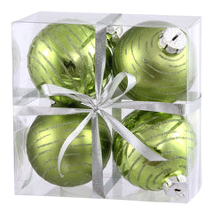 "3"" Lime Ball Ornament w/Glitter Asst 4/Box"