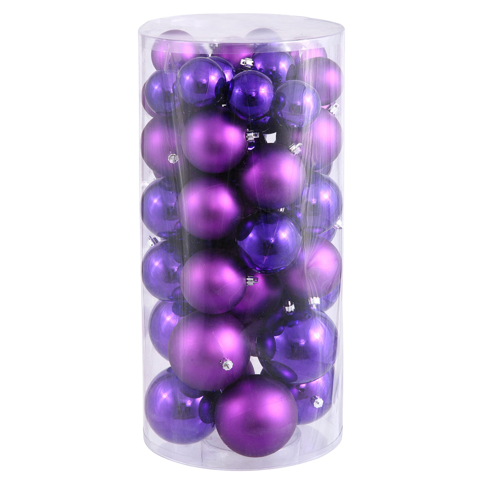 "2.4""-3""-4"" Purple Ball Ornaments Shiny/Matte 50/Box"