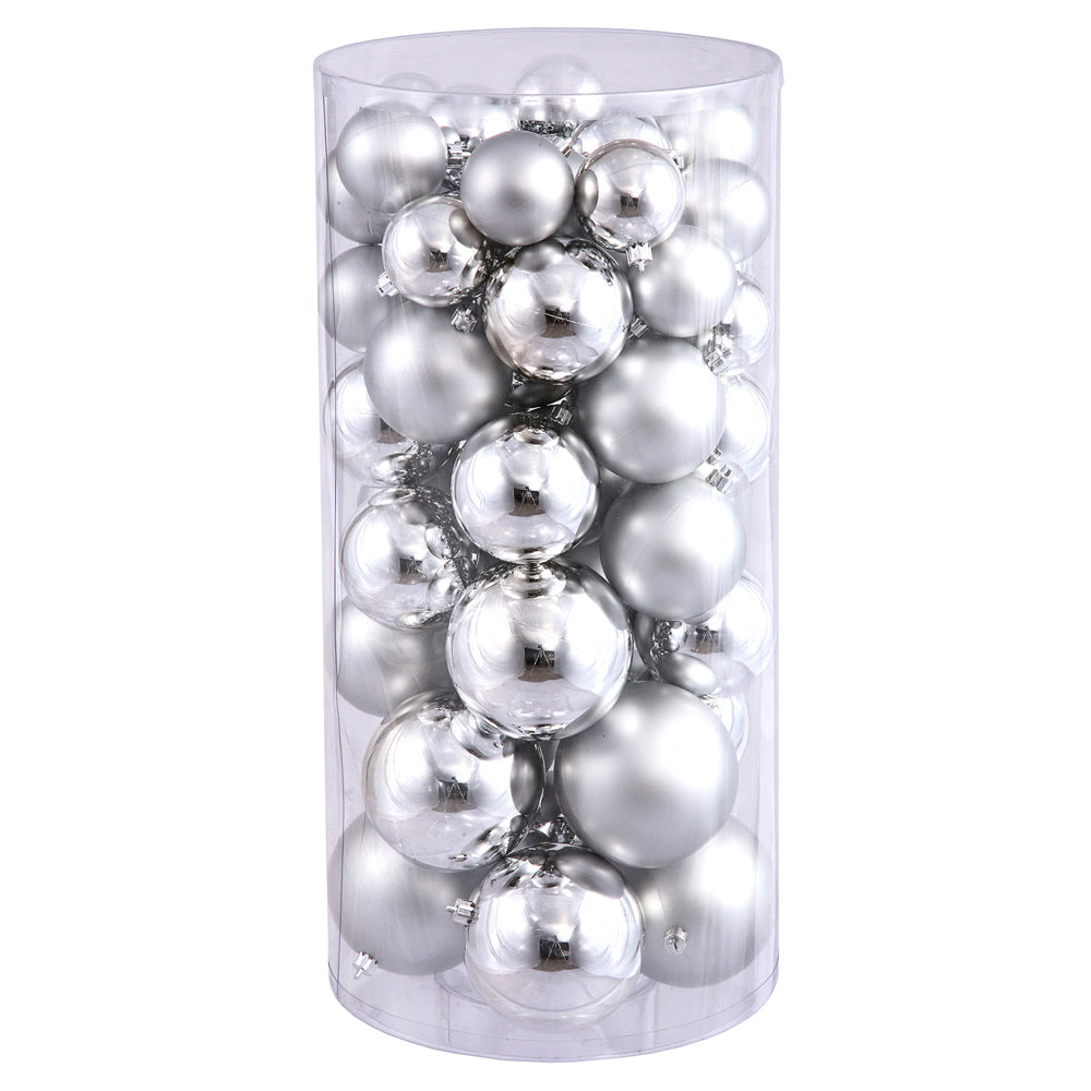 Vickerman 2.4 in.-3 in.-4 in. Silver Shiny Matte Ball Christmas Ornament