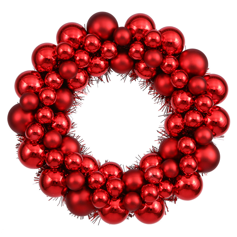 12 Quot Red Colored Ball Wreath Bulbamerica