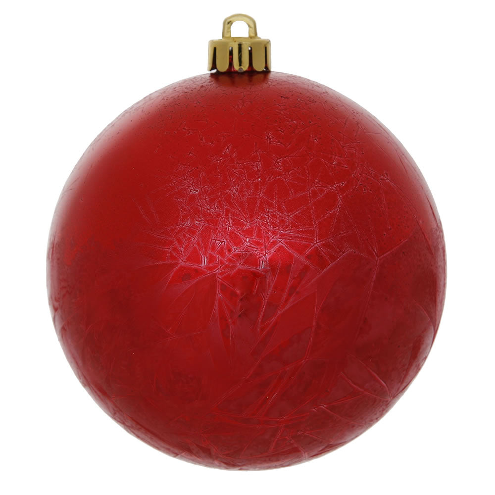 "3"" Red Crackle Ball Ornament UV Drilled 12/Bag"