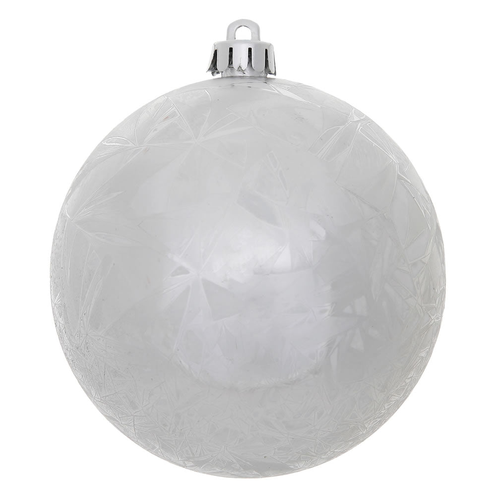 "4"" Silver Crackle Ball Ornament UV Drilled 6/Bag"