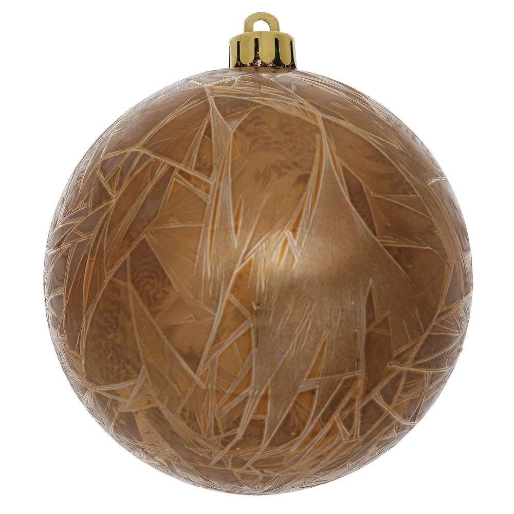 "4"" Mocha Crackle Ball Ornament UV Drilled 6/Bag"