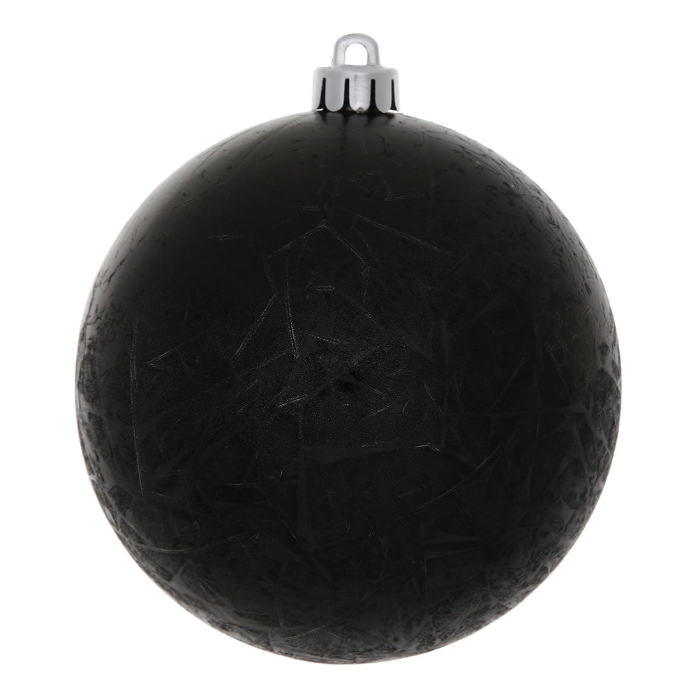 "3"" Black Crackle Ball Ornament UV Drilled 12/Bag"