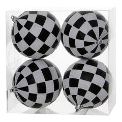 "4.7"" Black-White Check Glitter Ball Ornament 4/B"