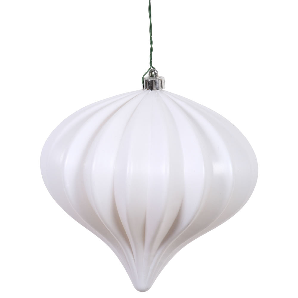 Vickerman 5.7 in. White Matte Onion Christmas Ornament
