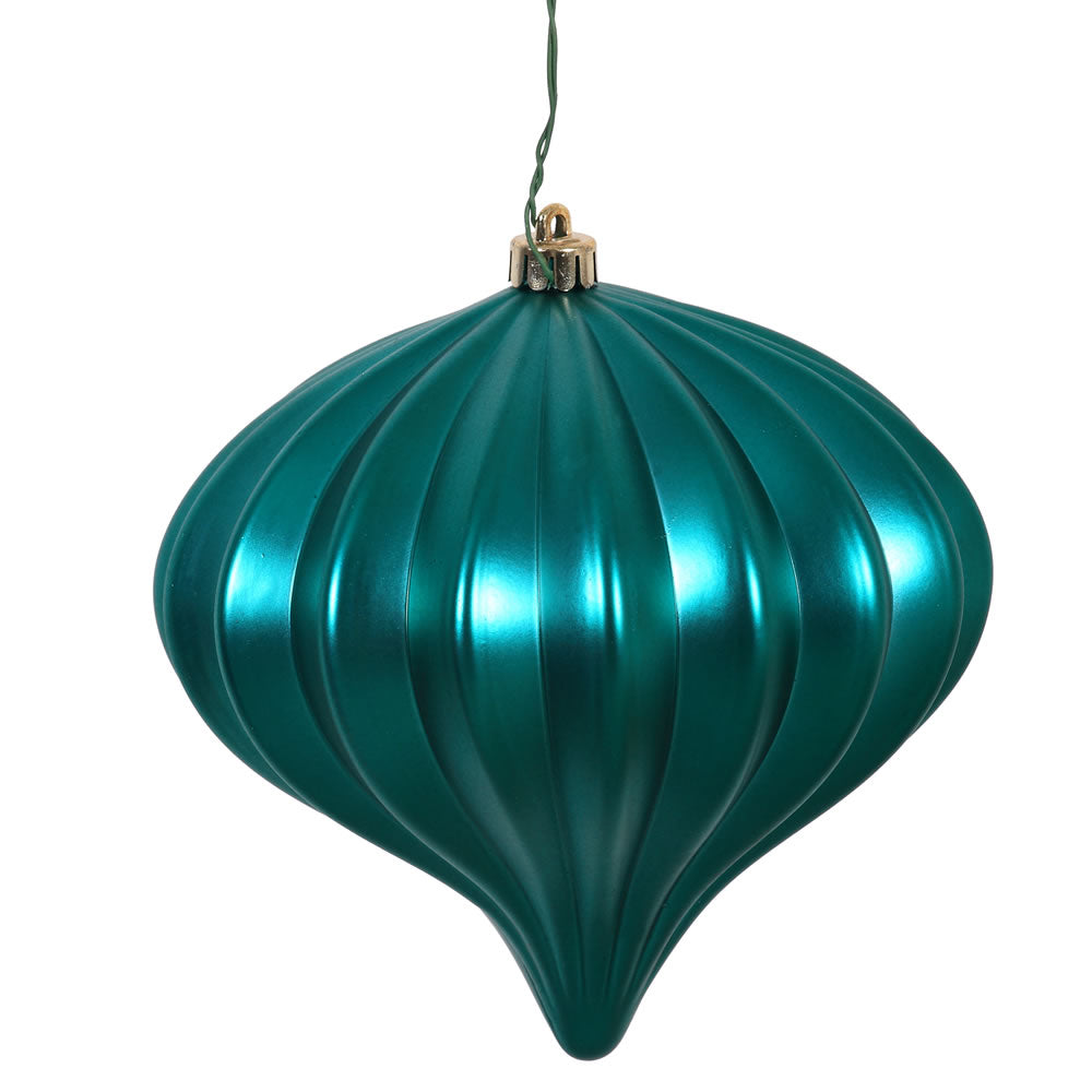 Vickerman 5.7 in. Teal Matte Onion Christmas Ornament