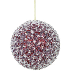 "4PK - 4"" Red Acrylic Beaded Christmas Ball Ornament"