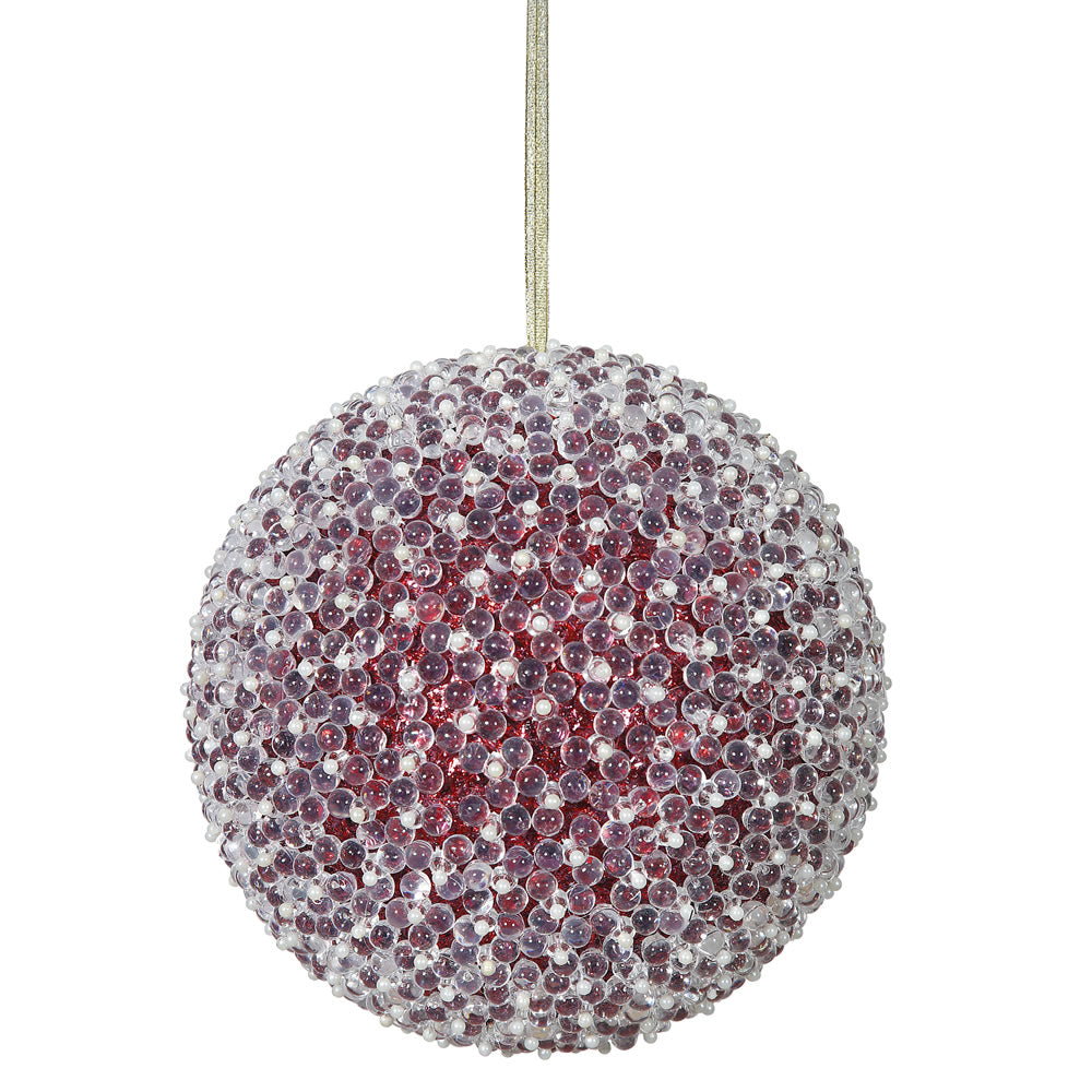"8"" Red Acrylic Beaded Christmas Ball Ornament"