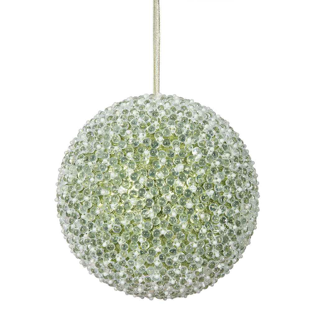 "8"" Lime Acrylic Beaded Christmas Ball Ornament"
