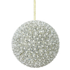"8"" Champagne Acrylic Beaded Christmas Ball Ornament"