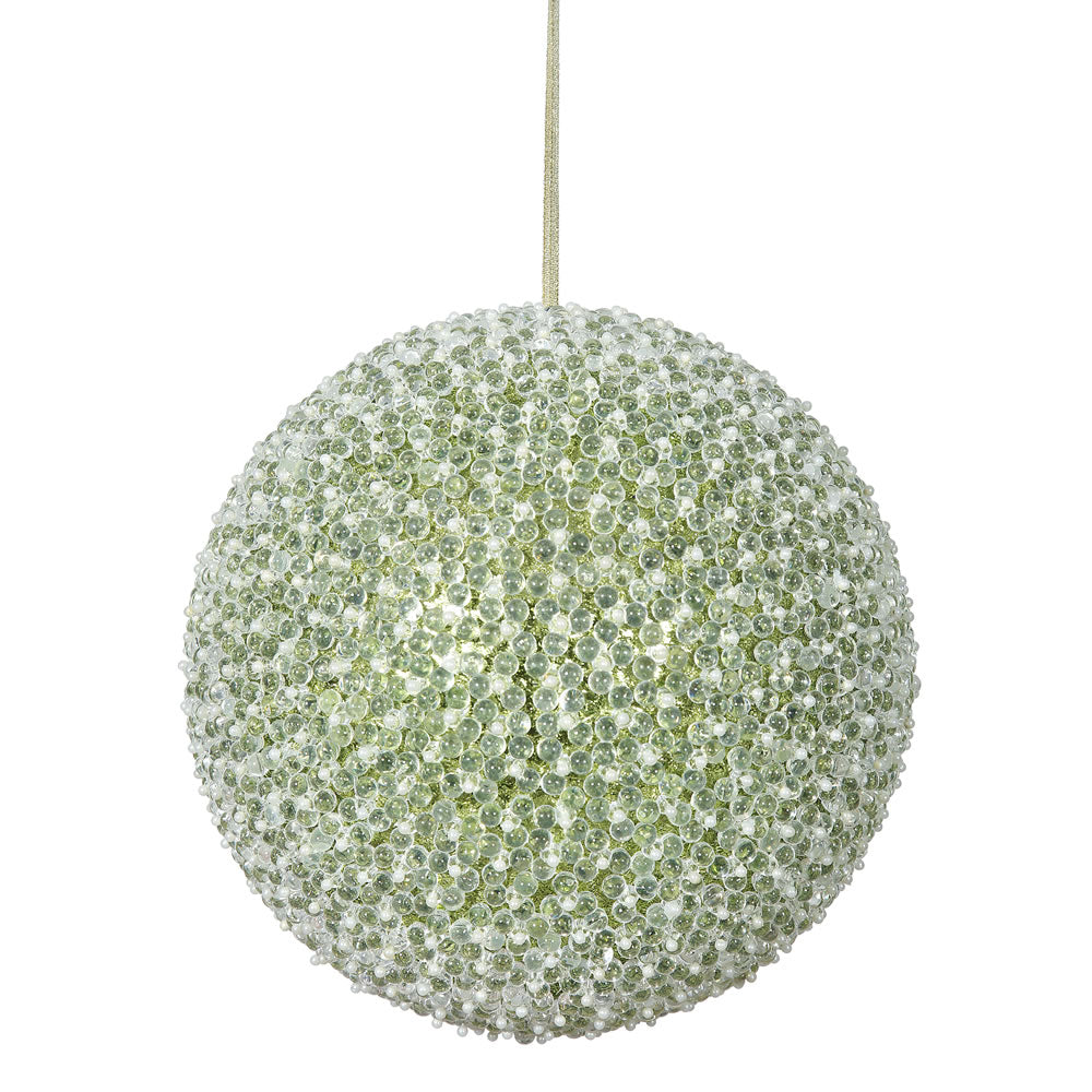 "10"" Lime Acrylic Beaded Foil Styrofoam Christmas Ball Ornament"