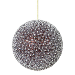 "10"" Chocolate Acrylic Beaded Foil Styrofoam Christmas Ball Ornament"