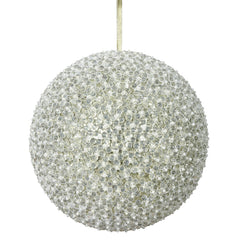"10"" Champagne Acrylic Beaded Foil Styrofoam Christmas Ball Ornament"