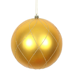 Vickerman 8 in. Antique Gold swirl Glitter Ball Christmas Ornament