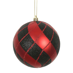 Vickerman 3 in. Black-Red swirl Ball Christmas Ornament