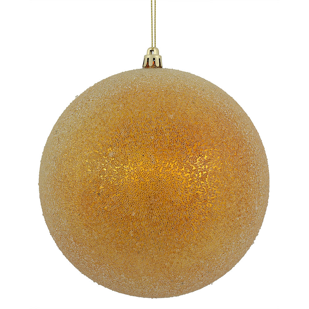 Vickerman 8 in. Antique Gold Ball Christmas Ornament