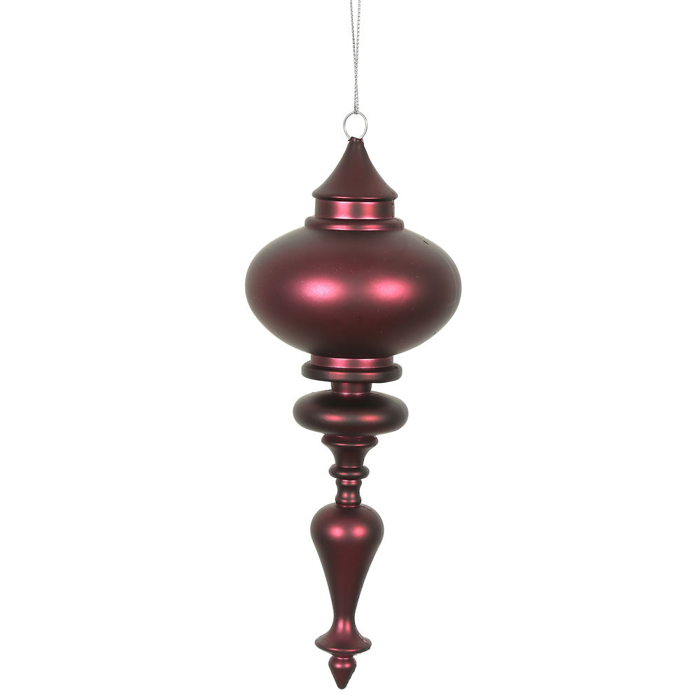 Vickerman 8.7 in. Wine Matte Finial Christmas Ornament