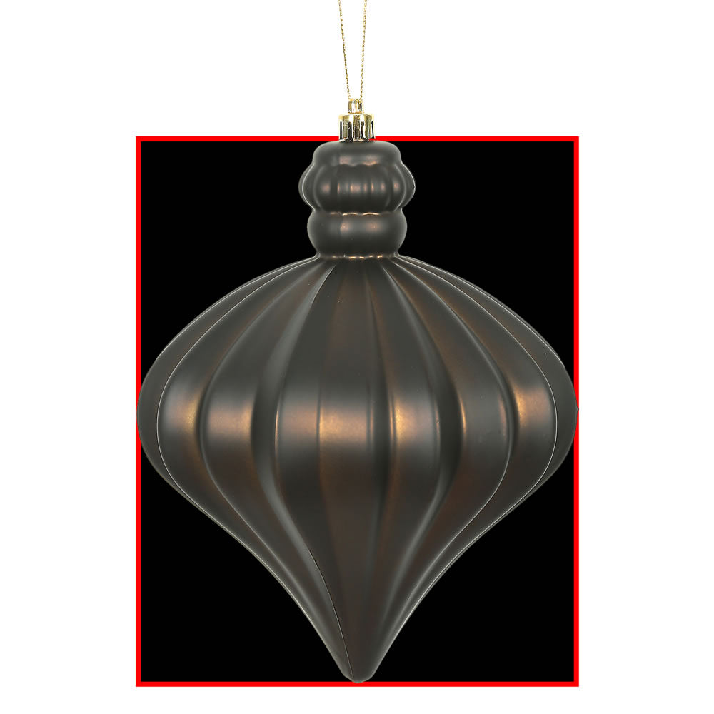 Vickerman 6 in. Chocolate Matte Drop Christmas Ornament