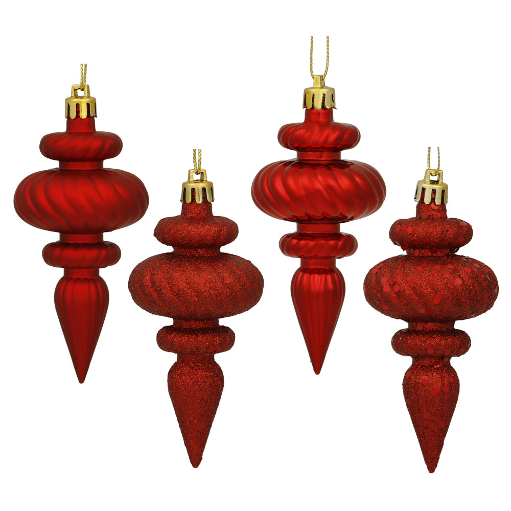 Vickerman 4 in. Red Finial Christmas Ornament