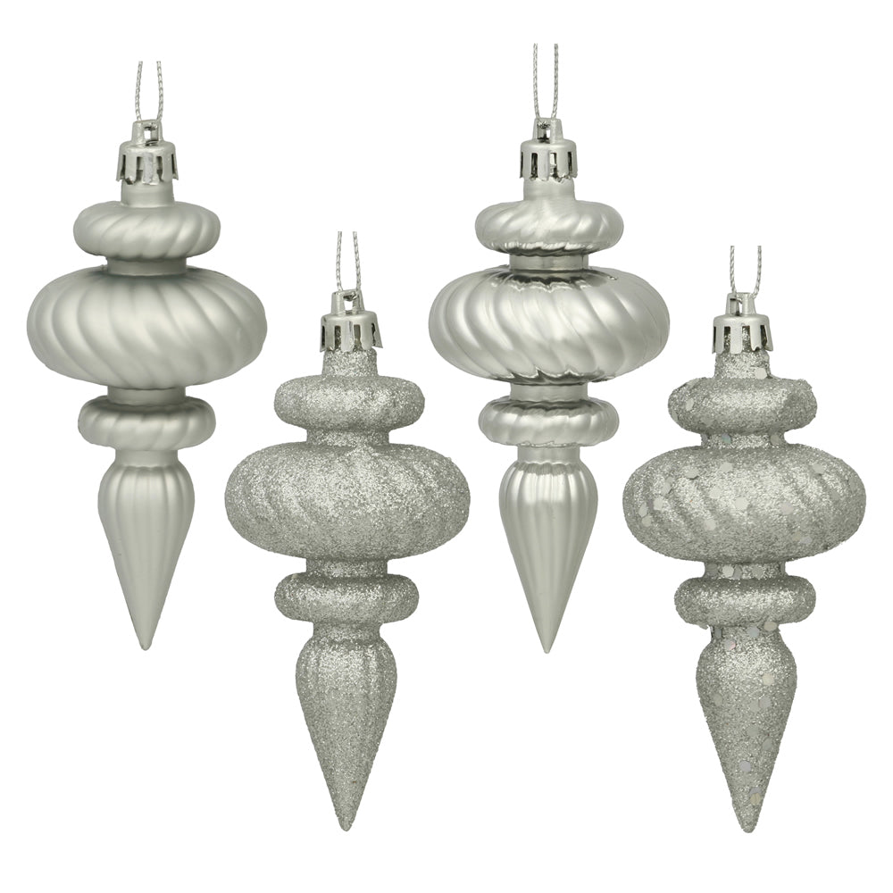 Vickerman 4 in. Silver Finial Christmas Ornament