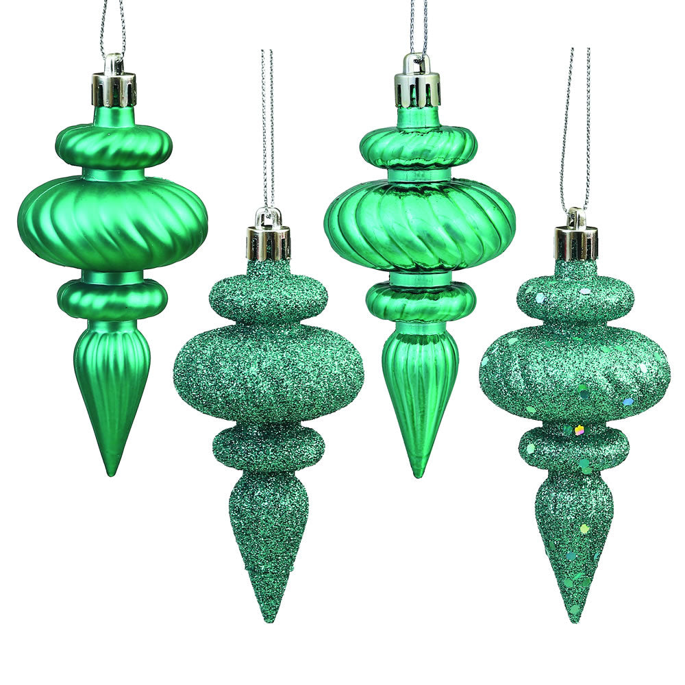 "8PK - 4"" Teal Finial 4 Finish Assorted Shatterproof Christmas Ornaments"